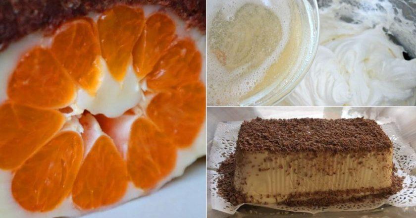 Сметанный торт с мандаринами. Круто, когда и духовку включать не надо! Просто, но очень эффектно